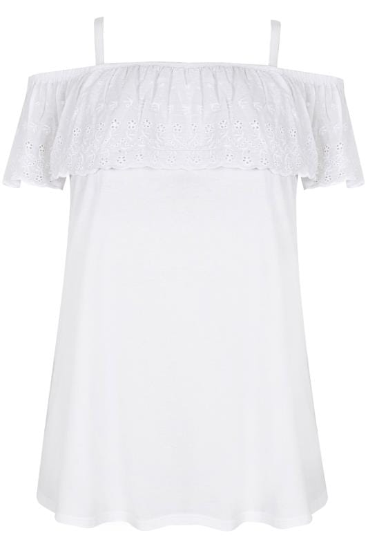 White Frill Broderie Anglaise Cold Shoulder Top
