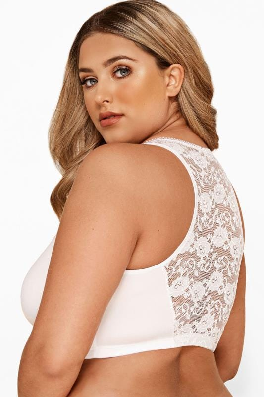 Plus Size Non-Wired Bras White Front Fastening Bra