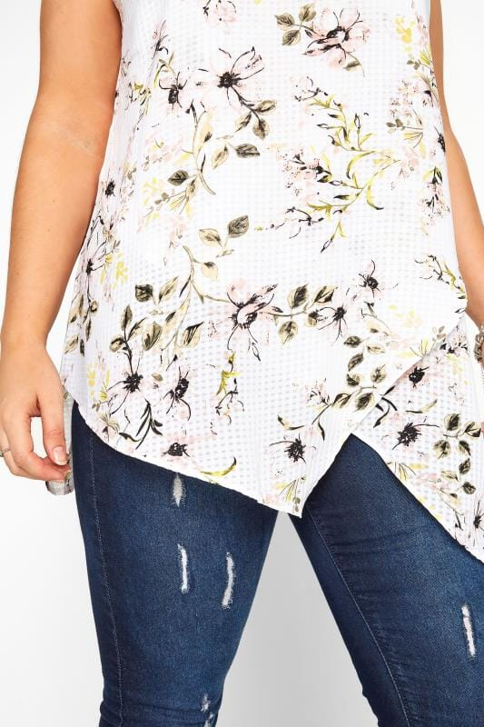 White Gingham Floral Print Double Layer Top