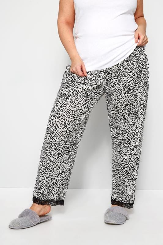 Plus Size Loungewear White Glitter Animal Print Lounge Pants