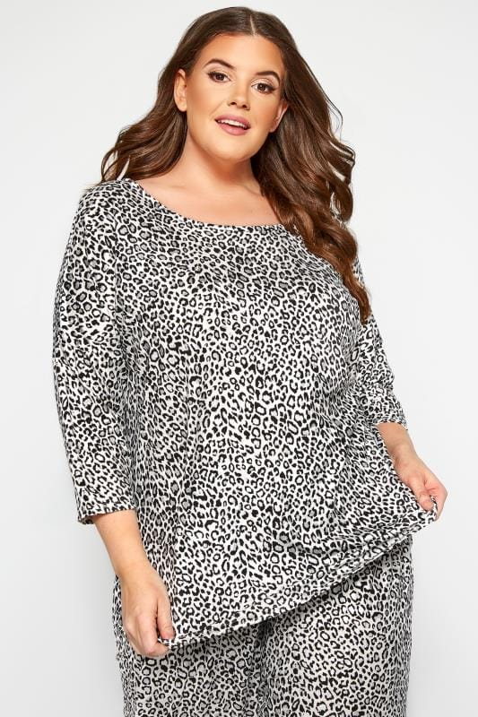 Plus Size Loungewear White Glitter Leopard Print Lounge Top