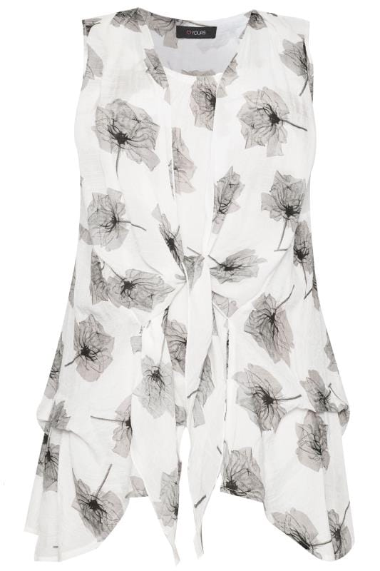 White & Grey Floral Tie Front Blouse