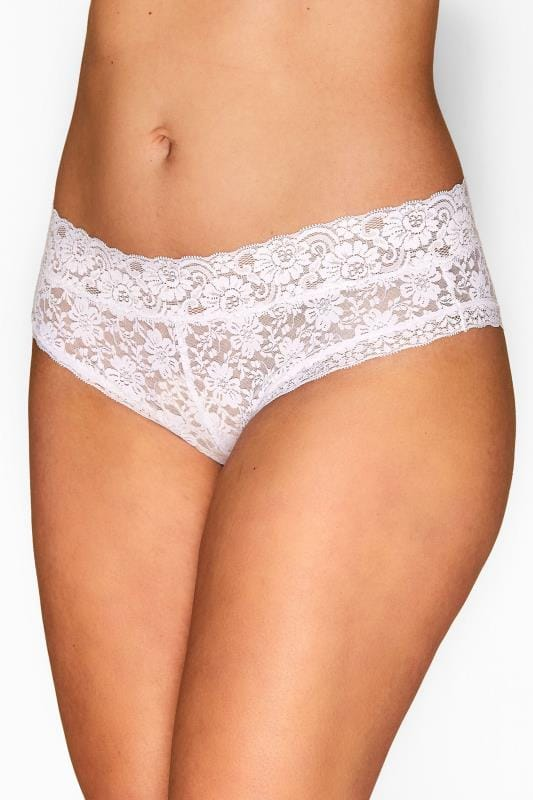 Plus Size Briefs & Knickers White Lace Briefs