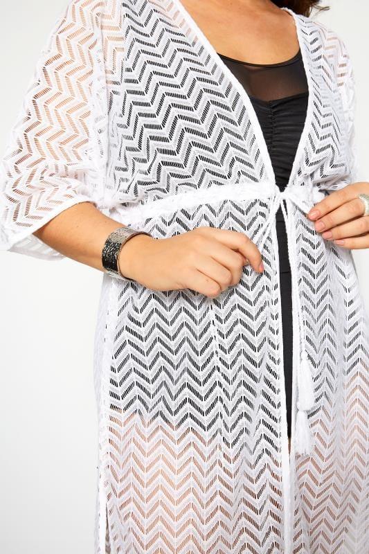 Plus Size Kaftans & Cover Ups White Lace Longline Maxi Cover Up