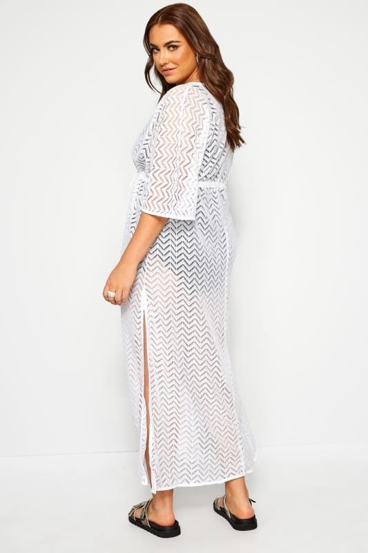 White Lace Longline Maxi Cover Up