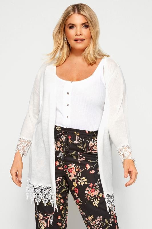 Plus Size Cardigans White Lace Trim Cardigan