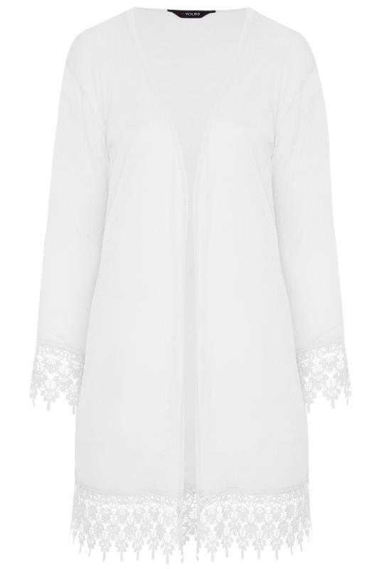 White Lace Trim Cardigan