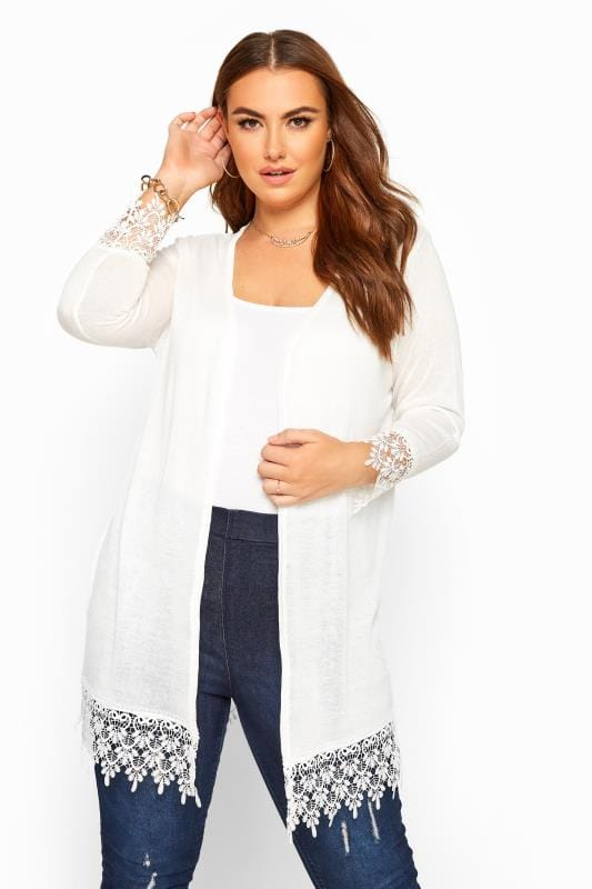 Plus Size Cardigans White Lace Trim Cardigan