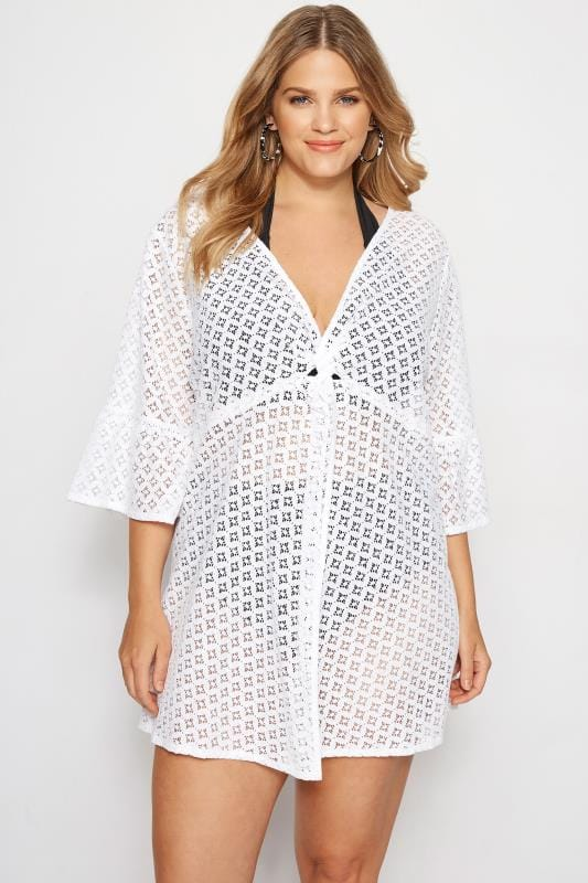 White Lace Twist Front Cover Up