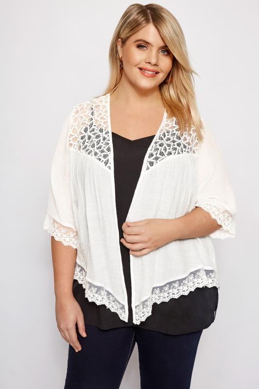 Plus Size Kimonos White Lace Waterfall Kimono