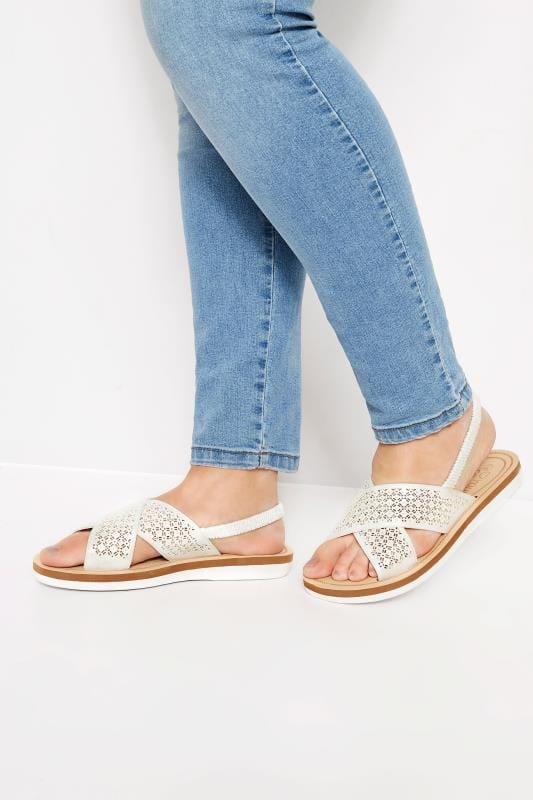 Wide Fit Sandals White Laser Cut Diamante Sandals In Extra Wide Fit