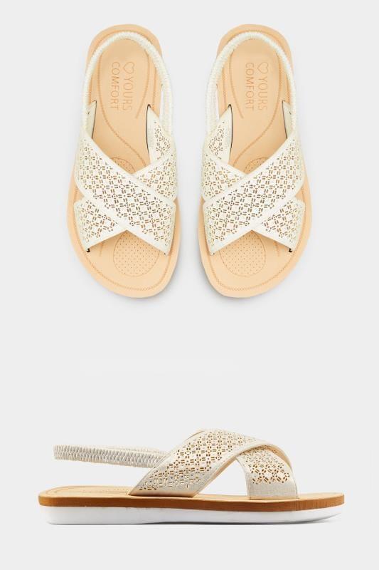 White Laser Cut Diamante Sandals In