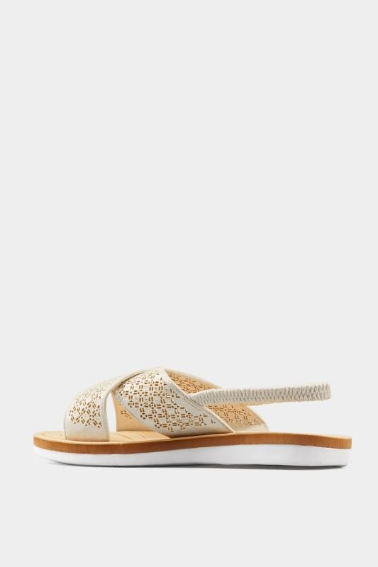 White Laser Cut Diamante Sandals In Extra Wide Fit