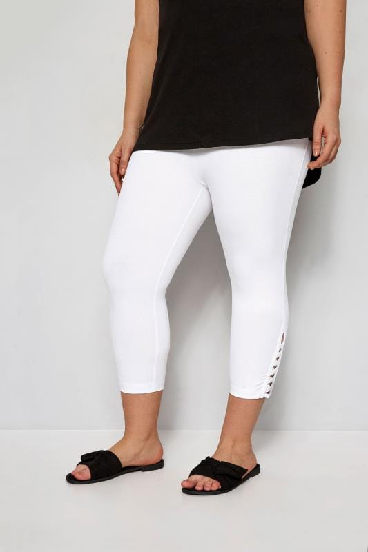 Plus Size Cropped & Short Leggings White Lattice Cropped Leggings