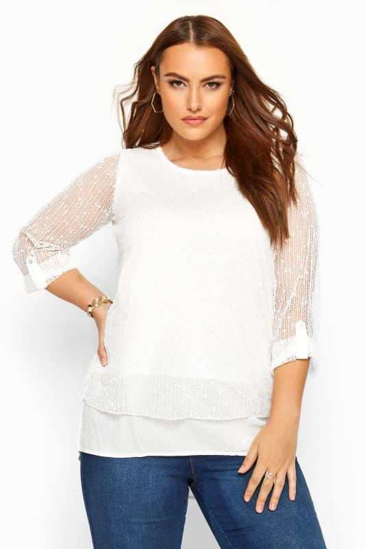 White Layered Crochet Top