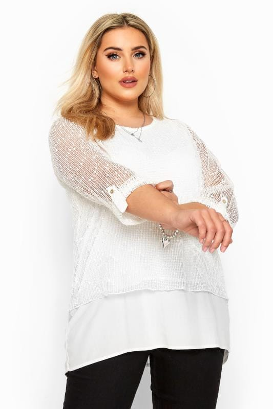 Plus Size Day Tops White Layered Crochet Top