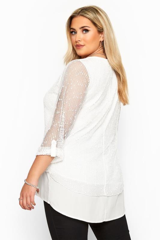 White Layered Crochet Top
