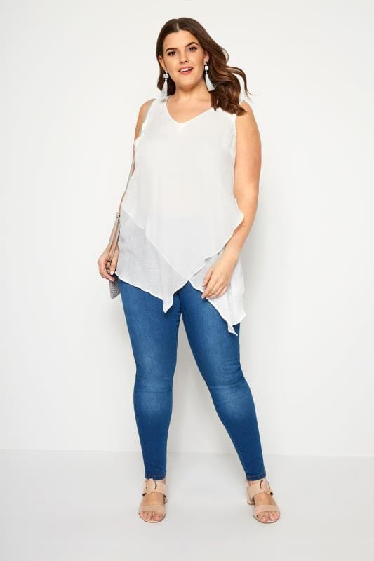 White Layered Sleeveless Blouse