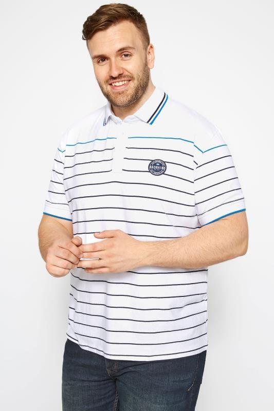Plus Size Polo Shirts White Linear Striped Polo Shirt
