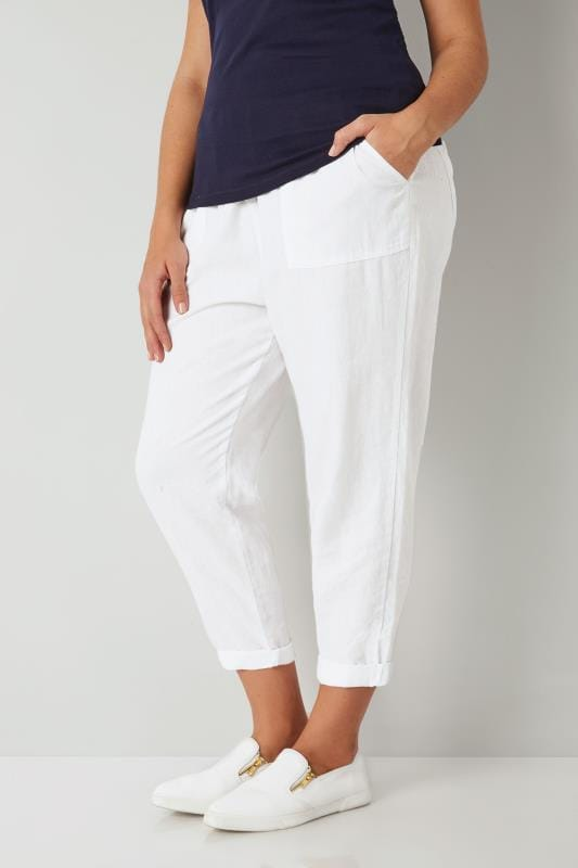 Plus Size Linen Mix Trousers White Linen Mix Pull On Tapered Trousers