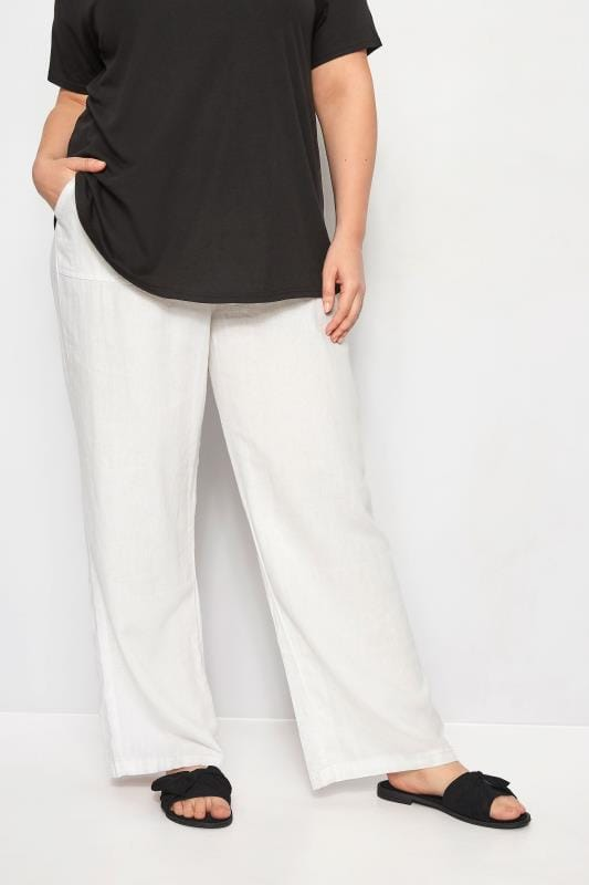 Plus Size Linen Mix Trousers White Linen Mix Pull On Wide Leg Trousers