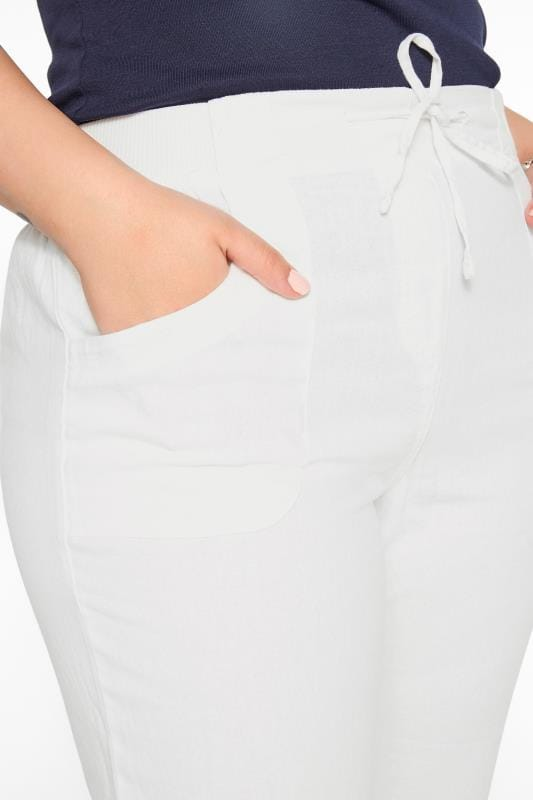 White Linen Mix Wide Leg Trousers
