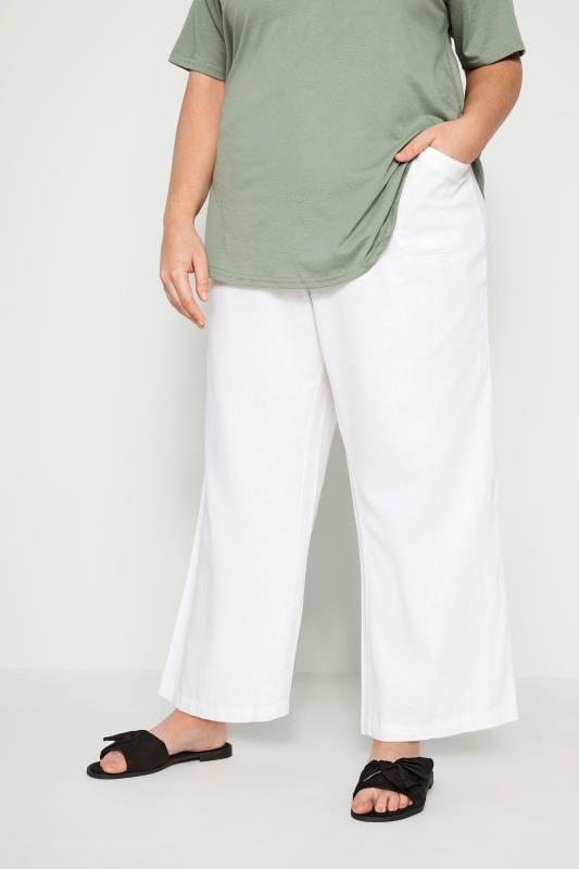 Plus Size Linen Mix Trousers White Linen Mix Wide Leg Trousers
