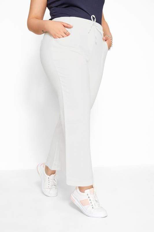 White Linen Mix Wide Leg Trousers