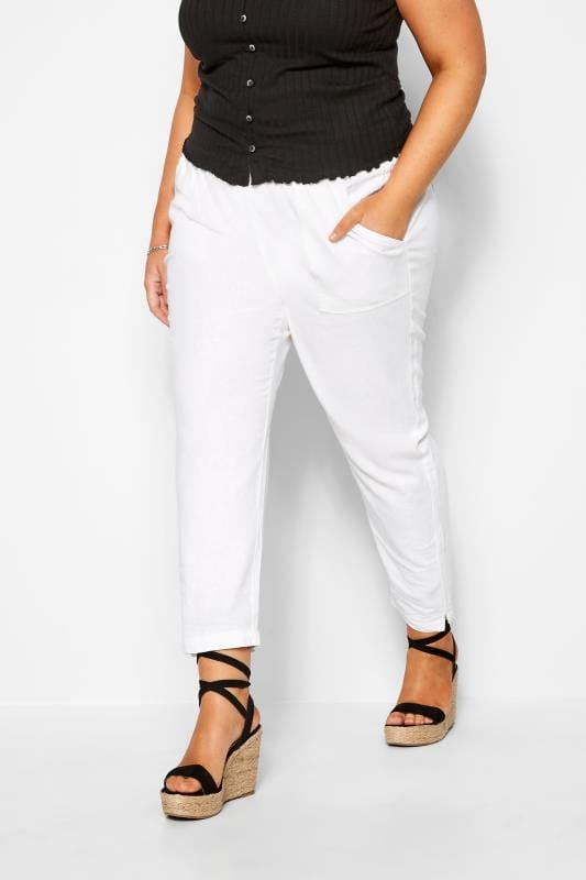 Plus Size Tapered & Slim Fit Trousers White Linen Tapered Trousers