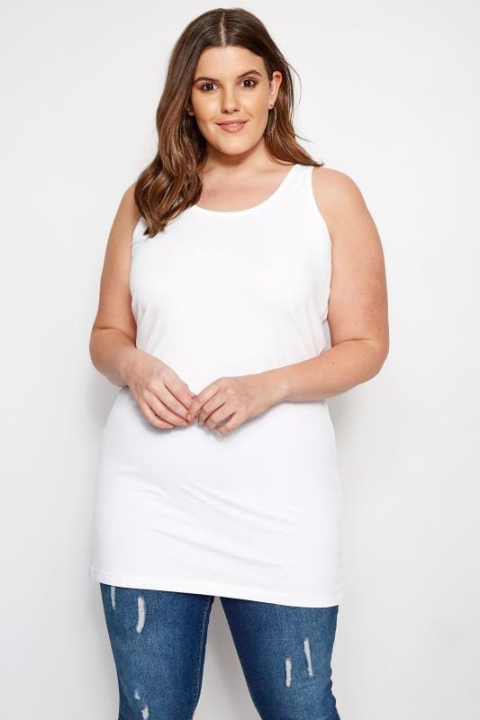 Plus Size Basic T-Shirts & Vests White Longline Vest