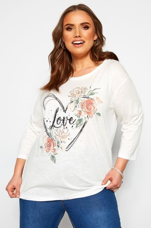 Plus Size Jersey Tops White Marl Heart 'Love' Slogan Top