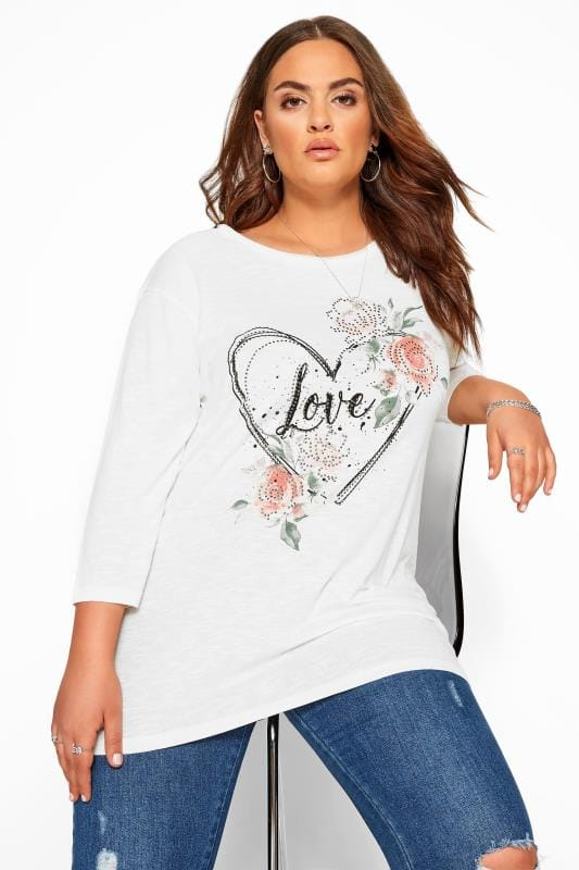 Plus Size Jersey Tops White Marl Heart 'Love' Slogan Top