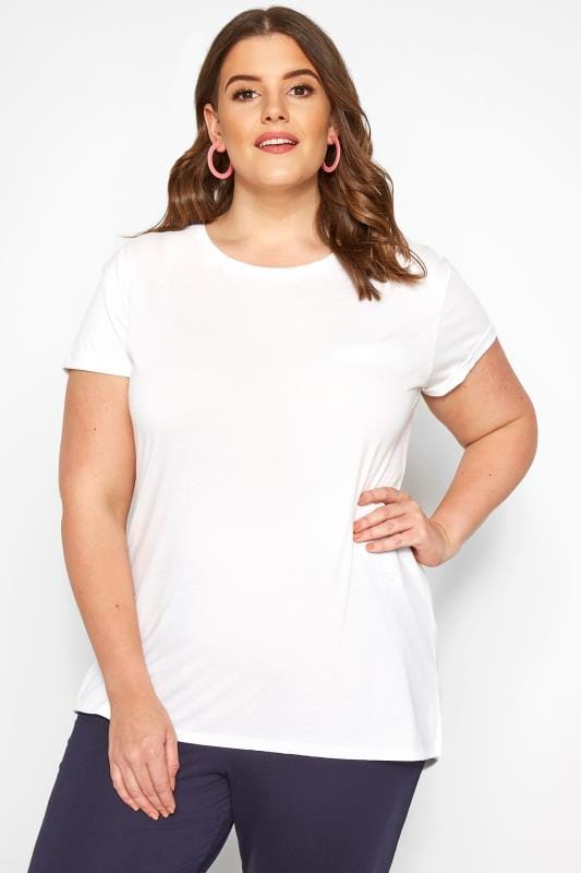 Plus Size Jersey Tops White Mock Pocket T-Shirt