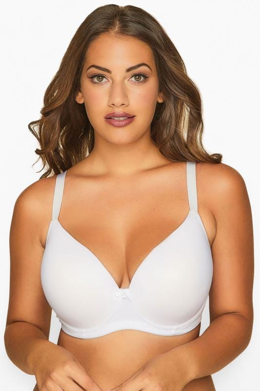 Plus Size Balcony Bras dla puszystych White Moulded T-Shirt Bra - Best Seller