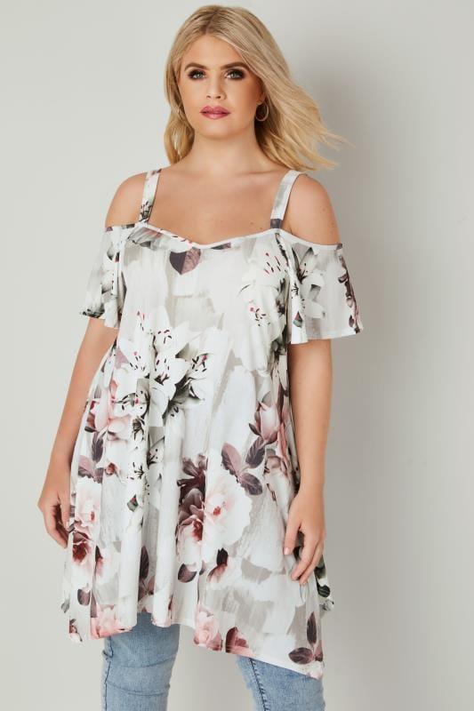 White & Multi Floral Hanky Hem Cold Shoulder Top