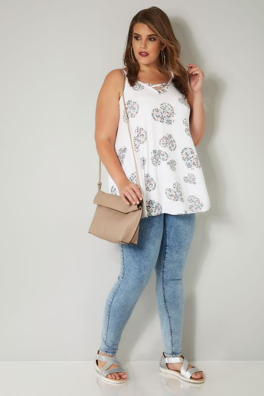 White & Multi Heart & Butterfly Vest Top With Cross Front Detail