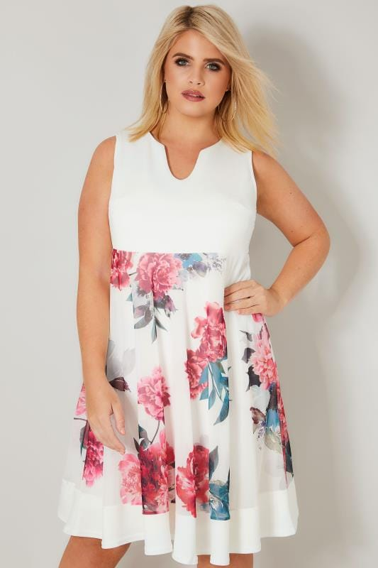 White & Multi Scuba Skater Dress With Mesh Floral Skirt ...