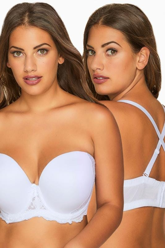 Plus Size Multiway & Strapless Bras Grande Taille White Multiway Microfibre Lace Bra With Removable Straps