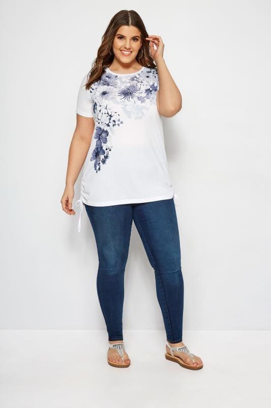 White & Navy Floral Diamante Drawstring T-Shirt