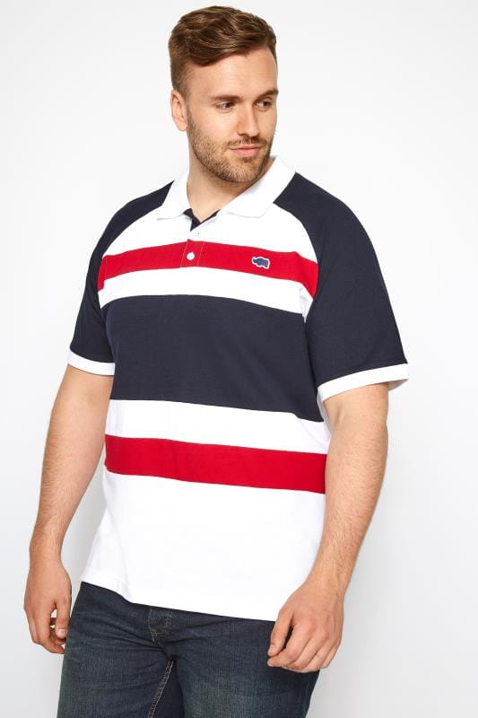White, Navy & Red Striped Polo Shirt