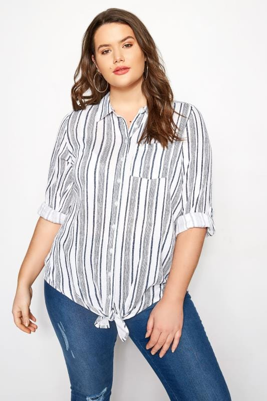 White & Navy Striped Shirt With Tie Front