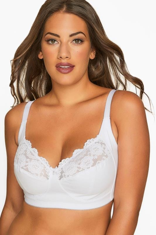 Plus Size Non-Wired Bras White Non-Wired Cotton Bra With Lace Trim - Best Seller