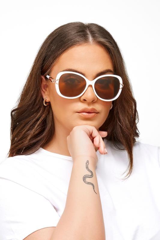 White Oversized Knot Sunglasses