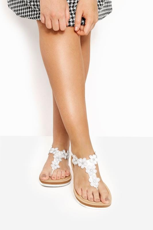 Wide Fit Sandals White PU Diamante Flower Sandals In Extra Wide Fit