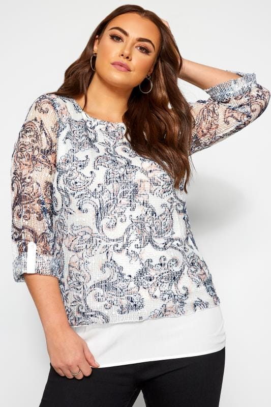 Plus Size Day Tops White Paisley Layered Crochet Top
