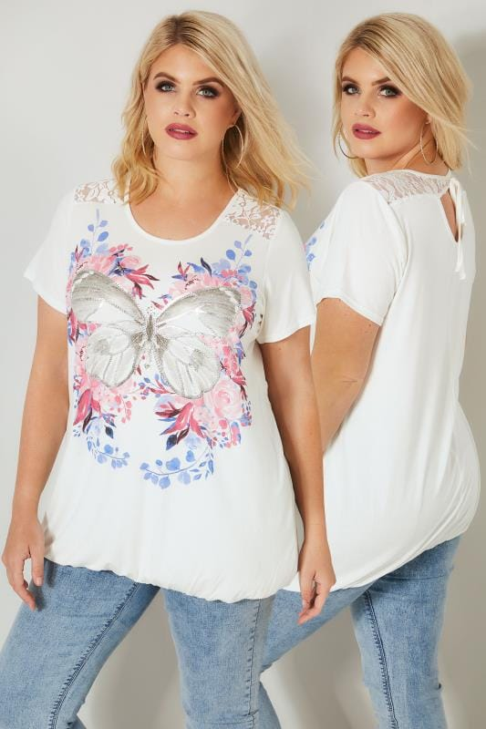 White & Pink Floral Butterfly Print Lace Top With Bubble Hem