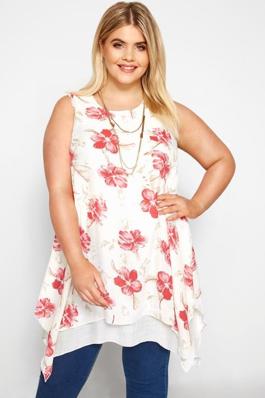 Plus Size Dipped Hem Tops White & Pink Floral Layered Blouse