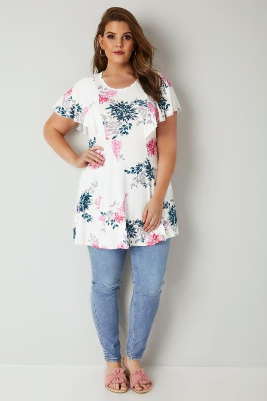White & Pink Floral Print Peplum Top With Angel Sleeves