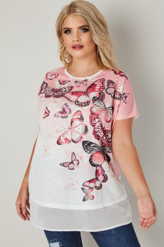 White & Pink Stud Butterfly Top With Chiffon Hem