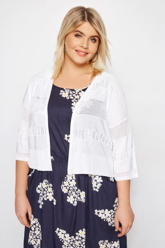 Plus Size Cardigans White Pointelle Cropped Cardigan